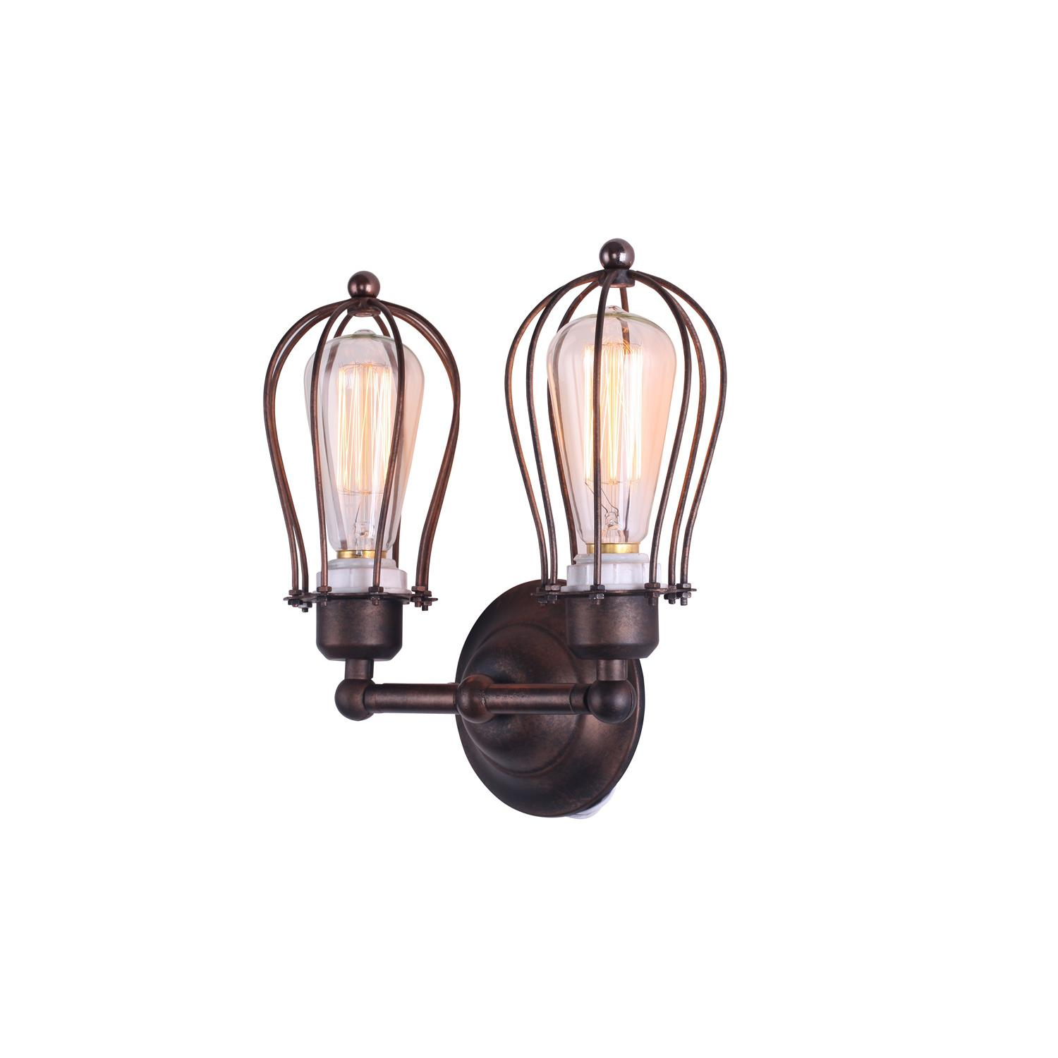 Marconi Small Cage Double Sconce Black