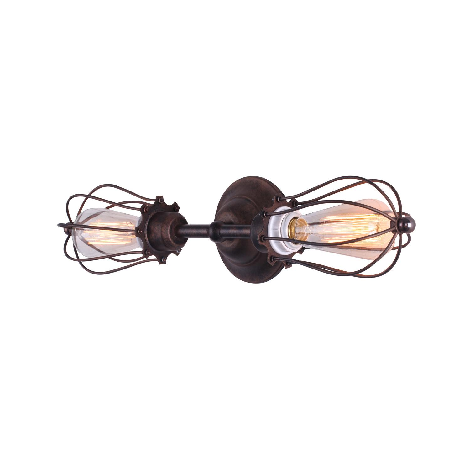Marconi Small Cage Inline Double Sconce Black